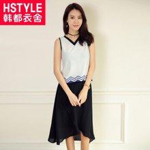 韩都衣舍韩版女装夏装新款印花两件套时尚套装