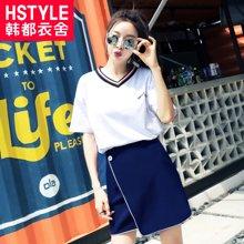 韩都衣舍2018韩版夏季新款女装显瘦短裙套装v领短袖两件套裙宽松