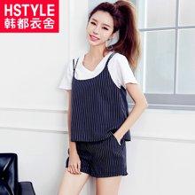 韩都衣舍2017韩版女装夏装新款条纹宽松显瘦时尚套装