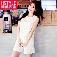 韩都衣舍2018韩版女装夏装新款宽松显瘦蕾丝时尚套装JN6562埕