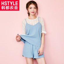韩都衣舍2018韩女装夏装新款纯色宽松吊带两件套套装JT6820槿
