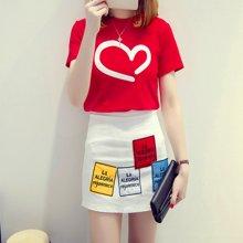 亿族 夏季新款爱心短袖T恤+字母贴布绣花半身裙两件套套装