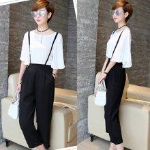 亿族 2017春夏装新款韩版修身七分喇叭袖背带七分裤两件套装