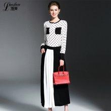 2017春季新款欧美女装波点上衣+黑白撞色裙裤时尚套装LF72077232