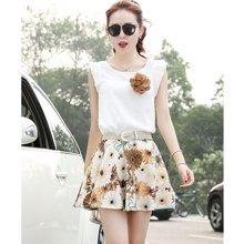 亿族 2017夏季新款韩版修身棉麻无袖上衣+碎花短裙套装两件套 32A143DA8018