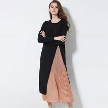 亿族 2017春夏装新款欧美大码女装胖MM细褶两件套连衣裙中长款显瘦长裙 6801