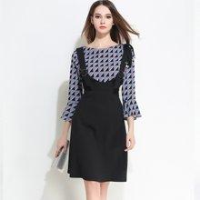 亿族 2017春夏装新款大码女装七分喇叭袖圆领雪纺衫+时尚背带连衣裙套装 6806