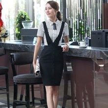 妙芙琳 2017女装新款工装韩版工作服夏装背带裙短袖套装女 背带裤