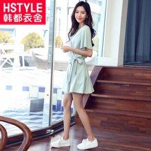 韩都衣舍2018夏装新款韩版女装系带雪纺两件套时尚套装MR6505汩