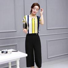 妙芙琳 2017夏季新款宽松韩版休闲条纹雪纺阔腿裤套装两件套七分裤