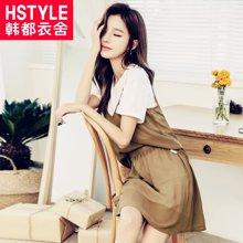 韩都衣舍2018韩版女装夏装新款三件套网纱短袖时尚套装GJ6681茆
