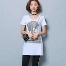 妙芙琳 2017夏季女装新款大码女装韩版修身显瘦印花休闲运动套装纯色T恤