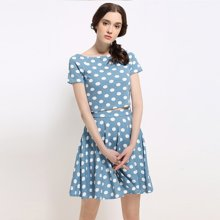 BANANA BABY2017春装新款韩版时尚波点短袖套装女小清新两件套裙B62T097
