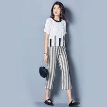 OUBOGJ 圆领t恤短袖两件套女夏新款韩版条纹亚麻七分裤休闲潮B09122
