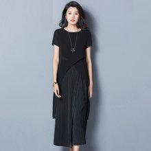 OUBOGJ  雪纺t恤女圆领短袖条纹裙裤韩版宽松阔腿裤两件套装B09853