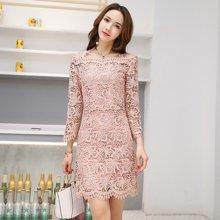 轩品媛  修身气质2017年秋季套装裙时尚长袖显瘦优雅蕾丝连衣裙  X607001