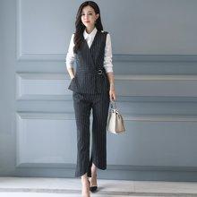 轩品媛  时尚职业装女装套装竖条纹马甲三件套长袖衬衫工作服正装女套装工装 4007719