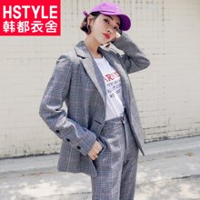 韩都衣舍2018秋装新款韩版女装直筒裤子西装时尚套装MR8614汩