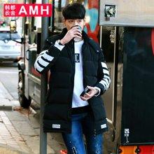 AMH韩版男装冬装2017羽绒服男中长款潮时尚休闲青年冬季外套薬晢