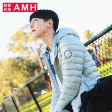 AMH 2016冬季新款轻薄羽绒服男短款韩版修身连帽潮流青年外套恊