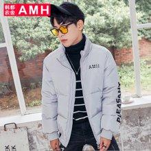 AMH韩版男装冬装2017新款宽松加厚短款羽绒服外套男QZ7185恊
