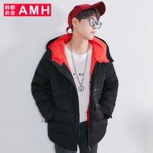 AMH韩版男装冬装2017新款学生连帽短款羽绒服外套男NQ7209恊