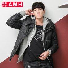 AMH男装韩版冬装新款男士棉服连帽修身棉衣外套