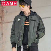 AMH韩版男装新款潮流插肩袖棒球领短款棉衣男PF7017璟