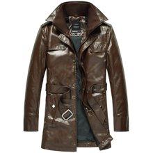 史克维斯新款皮衣夹克男青年长款pu皮修身男装韩版潮男皮外套P6699