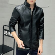 史克维斯秋季男pu皮夹克 修身韩版青年男短款仿皮皮衣外套P8805