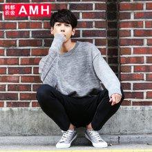 AMH韩版男装秋装2017学生潮流宽松圆领休闲毛衣男士NQ6672恊翦