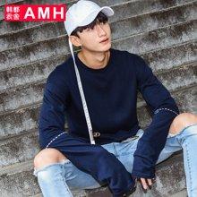 AMH 男装韩版 2017春季新款精致刺绣圆领套头长袖毛衣男士