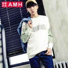 AMH 男装韩版 2017春季新款落肩宽松青年字母贴布男士毛衣