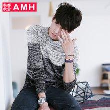 AMH 韩版男装秋装青年毛衣男学生潮流圆领针织毛衫套头OE2211燊