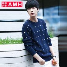AMH 男装韩版 2016秋季新款青年修身圆领男士套头毛衣男
