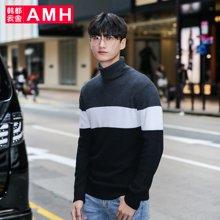 AMH 男装韩版 2017春季新款青年条纹高领男士套头针织衫
