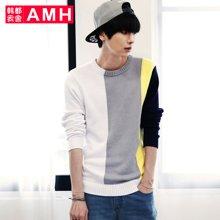 AMH 男装韩版 2016秋季新款拼色修身圆领套头毛衣男