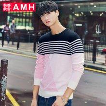 AMH 男装韩版 2017春装新款修身圆领潮流休闲条纹毛衣男