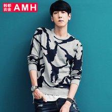 AMH男装2018春季新款韩版学生修身圆领印花套头针织衫男青年璟