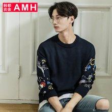 AMH韩版男装秋装2017潮流宽松休闲套头针织毛衫毛衣男LL6008楡毵