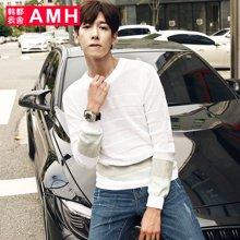 AMH 男装韩版 2017春季新款青年男士圆领修身套头针织衫男
