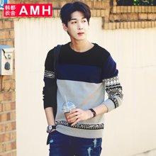 AMH 男装韩版 2016秋季新款圆领青年休闲长袖毛衣外套男