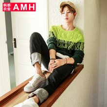 AMH 男装韩版 2016秋季新款青年潮流拼接圆领针织毛衣男