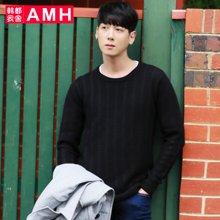 AMH 男装韩版 2016秋季新款潮流男圆领修身提花长袖针织衫