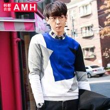 AMH 男装韩版 2016秋季新款男士圆领修身撞色长袖针织衫男潮流薬
