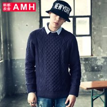 AMH韩版男装2018春装青年时尚圆领休闲套头针织毛衣男QO7681夢