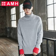 AMH韩版男装2018春装青年学生撞色插肩袖高领针织衫男NV7182璟