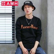 AMH韩版男装2018春装青年学生套头圆领长袖针织衫OD7171夢