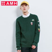 AMH韩版男装春装2018潮流休闲圆领时尚男士套头毛衣男OJ7755燊