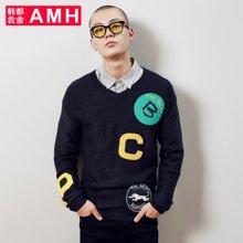 AMH韩版男装春装2018休闲V领长袖套头男士针织衫男OOJ7836琳
